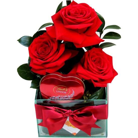 Rosas colombianas e coração Lindt
