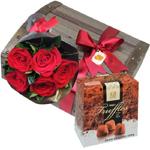 Trufas belgas e rosas colombianas