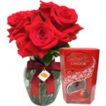 Rosas vermelhas e chocolate Importado