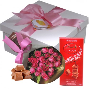 Presente Mini Rosas Chocolate Lindt