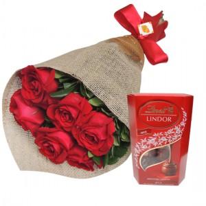 Rosas vermelhas e chocolate