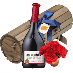 Baú Cravos vermelhos e vinho JP Chenet