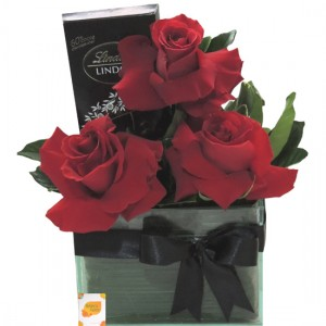 Trio Rosas Colombianas e Chocolate Lindt Dark