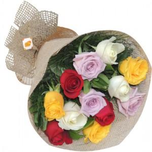 Rosas Coloridas | Buquê com 12 flores