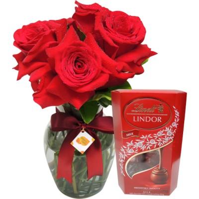 Presente Romântico Rosas e Lindt