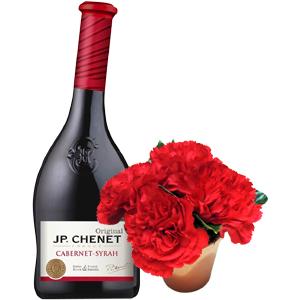 Presente com flores e vinho JP Chenet