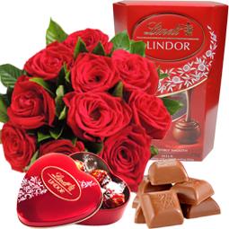 Presente com flores e chocolate Lindt